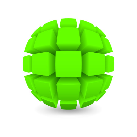 the divided: Divided green sphere. Object on a white background. Mesh gradient was used shadow.