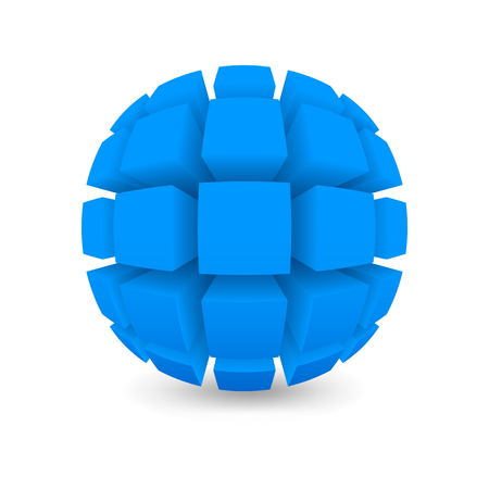 the divided: Divided blue sphere. Object on a white background. Mesh gradient was used shadow.