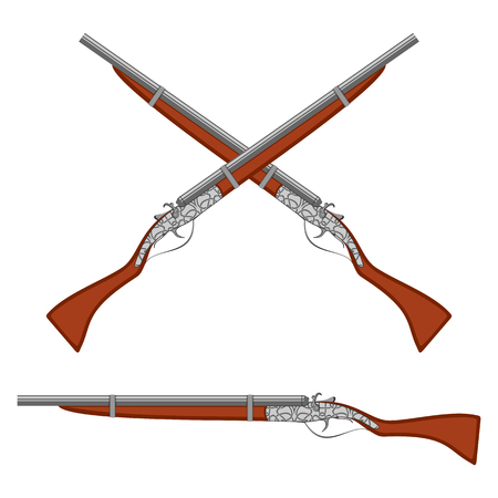 armory: Crossed ancient rifles. Set on a white background.