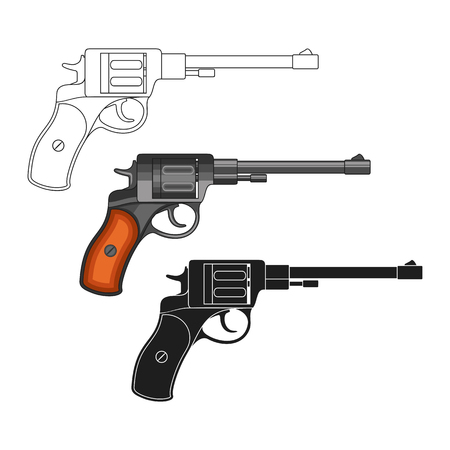 arsenal: Set of revolvers on a white background.
