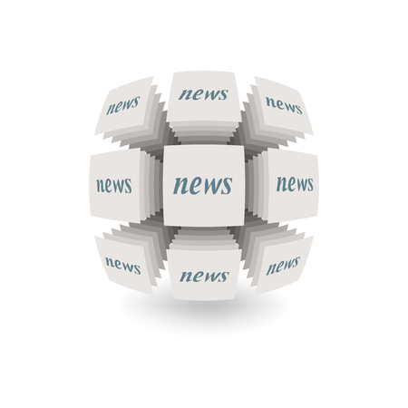 Abstract object on a white background. Symbolizes the dissemination of news.