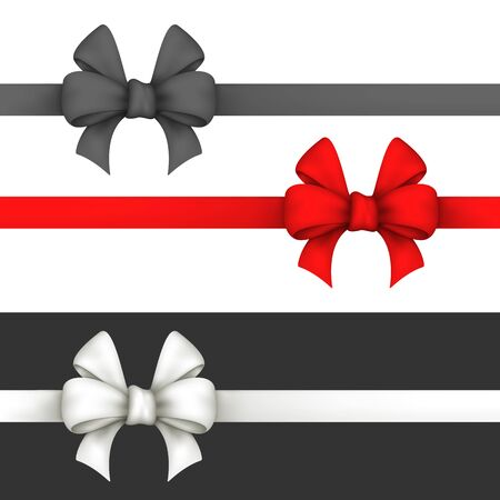 red bow: Black, red and white gift bows. Set ribbons on a white and black background. Used a gradient mesh and transparency. Illustration