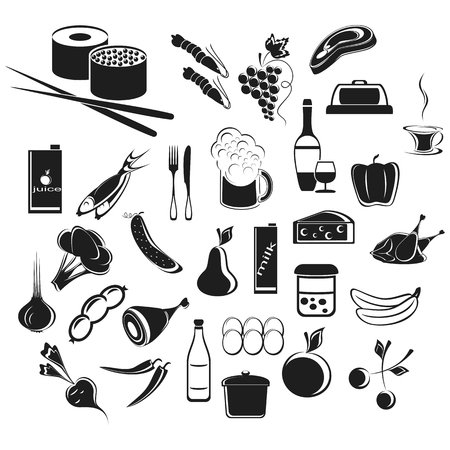 edibles: Icons food and beverages. Set on a white background.