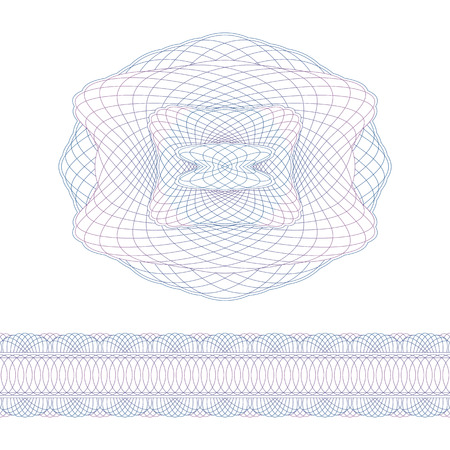 authenticity: Guilloche decorative elements and border. Security elements on a white background. Illustration