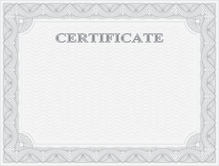 authenticity: Abstract guilloche frame. Horizontal certificate template.