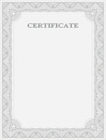 guilloche: Abstract guilloche frame. Vertical certificate template.