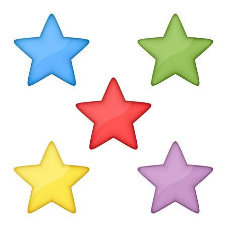 estrellas cinco puntas: Volumen de estrellas multicolores. Fije en un fondo blanco. Se usó gradiente de malla y la transparencia. Vectores