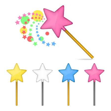 estrellas cinco puntas: Multicolored magic wands. Set on a white background. Mesh gradient and transparency was used.