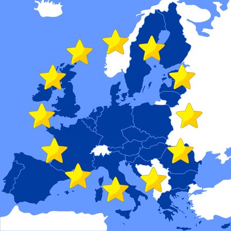 フラグとして様式化された欧州連合の地図。  イラスト・ベクター素材
