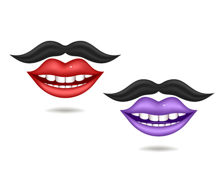 fake smile: Red and violet lips with moustaches. Objects on a white background. Mesh gradient was used.