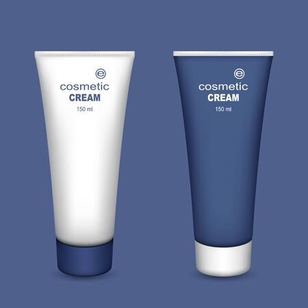 aftershave: Tubes of Cream. Set on a Blue Background. Ready for Your Design. Mesh Gradient and Transparency was Used. Illustration