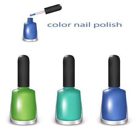 Ensemble de Nail Color polonais. Vert, Turquoise et bleu sur un fond blanc. Filet de dégradé et la transparence a été d'occasion