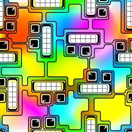 Composición abstracta sin fisuras. Jefes futurista de robots en un fondo multicolor. Gradiente de malla y la transparencia se utilizó. Ilustración de vector