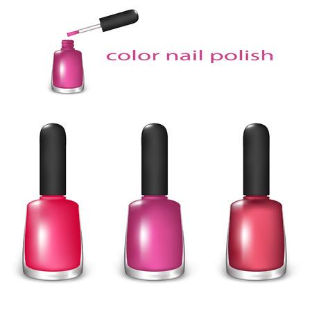 Ensemble de Nail Color polonais. Rose, Claret, et rouge couleurs sur un fond blanc. Filet de dégradé et la transparence a été utilisé.