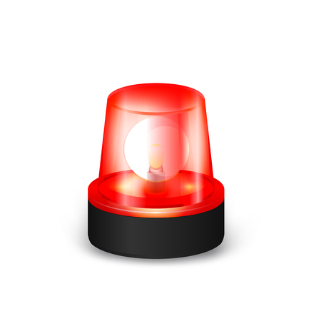 signals: Red Emergency Flashing Siren on a White Background.