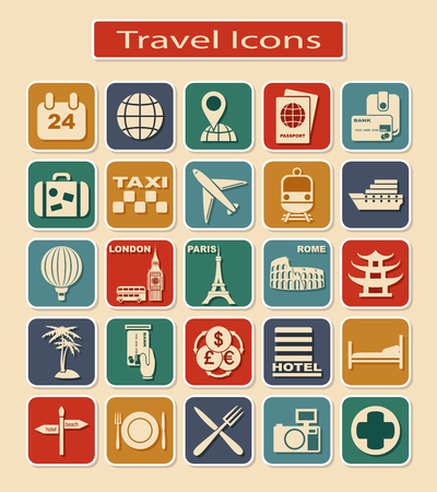 Set of Travel Icons. Light Silhouettes on a Color Background.