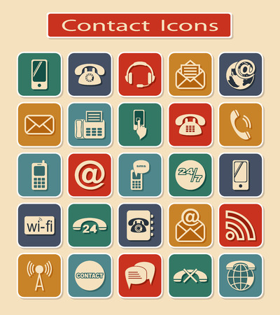 communication icons: Set of Contact Icons. Symbols of Means of Communication on a Light Background.