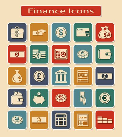 financial symbols: Set of Financial Icons. Monetary and Currency Symbols on a Light Background. Illustration
