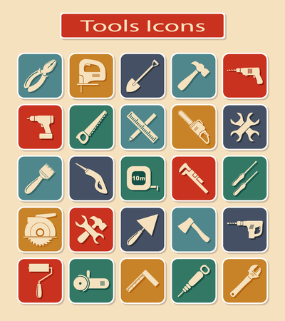 grinding teeth: Symbols of Different Tools and Devices on a Light Background.