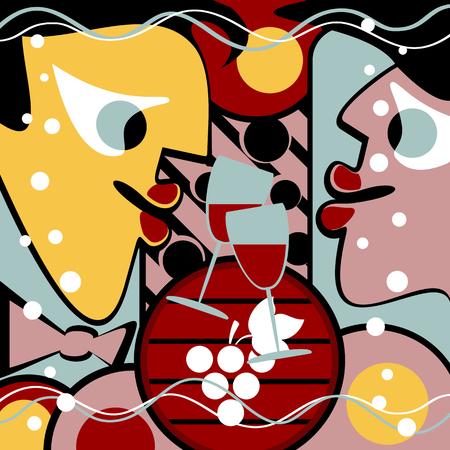 Nierealne ludzi i kieliszki do wina tworzą abstrakcyjne tło. Jest też beczka wina.