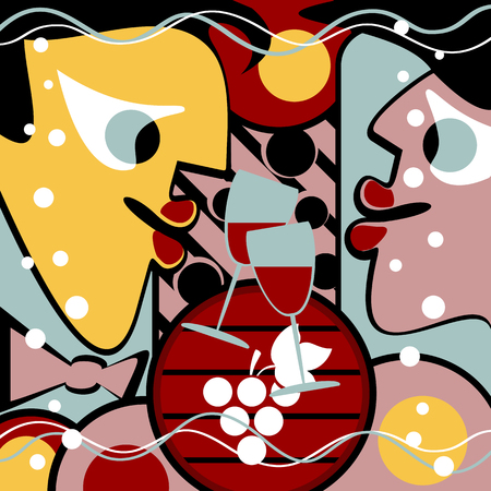 Surreal people and wine glasses form a abstract background. Also there is a wine cask.
