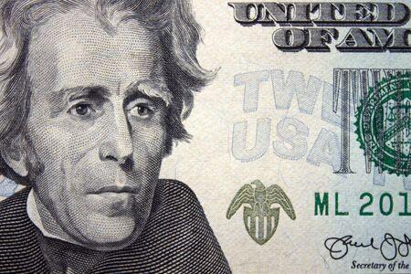 close up: Twenty Dollar Banknote. U.S. President Jackson close up. Stock Photo