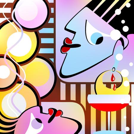 figuras abstractas: objetos abstractos forman un telón de fondo surrealista. Versión Motley. Gradiente de malla y la transparencia se utilizó.