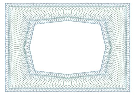 octagonal: Decorative rectangular guilloche frame. Octagonal free space in the middle. Vectores