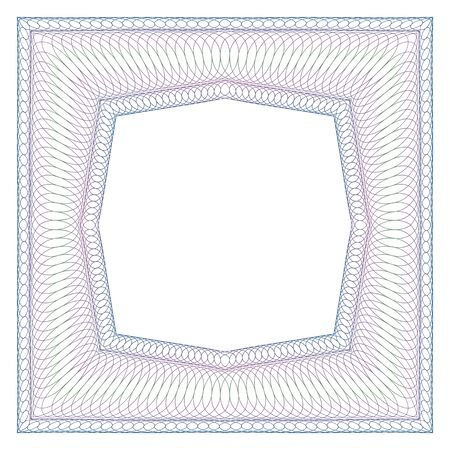 octagonal: Decorative square guilloche frame. Octagonal free space in the middle.