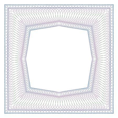 octogonal: Marco decorativo de líneas entrecruzadas cuadrado. espacio libre octogonal en el medio. Vectores