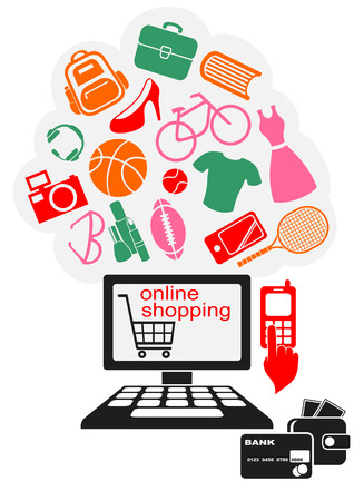 Internet Online Shopping. Colored Goods Icons Flying from the Computer.