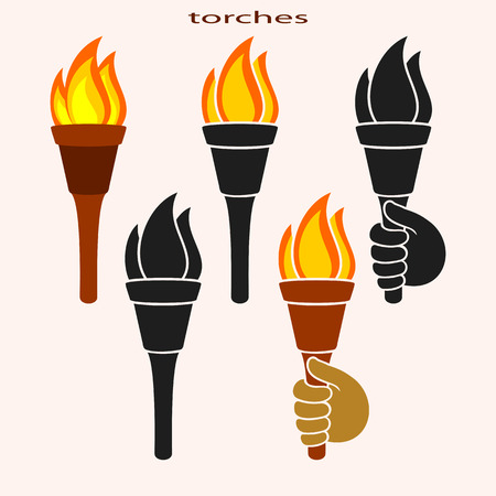 symbolical: Set of Icons of Torches on a Light Background. Torches Burn.