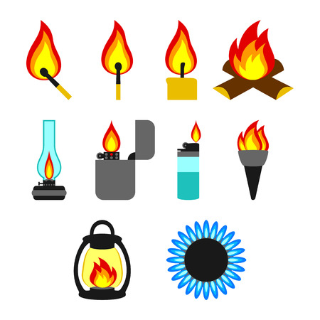 antiquities: Objects giving fire. Set on a white background. Illustration