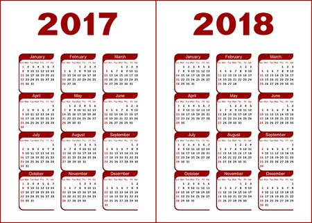 monthly calendar: Calendar for 2017, 2018. Red and black letters and figures on a white background.