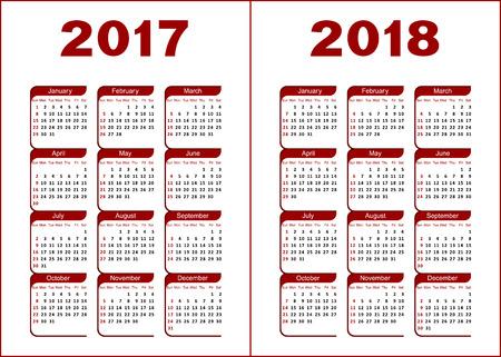 calendario diciembre: Calendario para 2017, 2018. Letras rojas y negras y figuras sobre un fondo blanco.