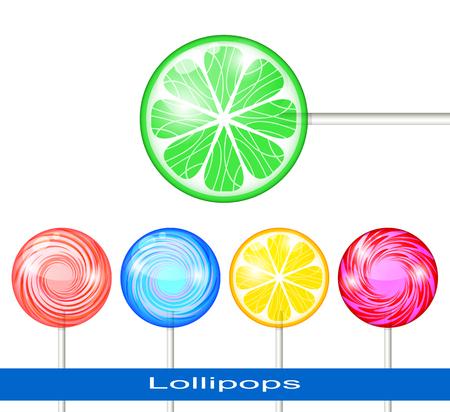 Set of Lollipops on a White Background. Lollipops Multicolored.