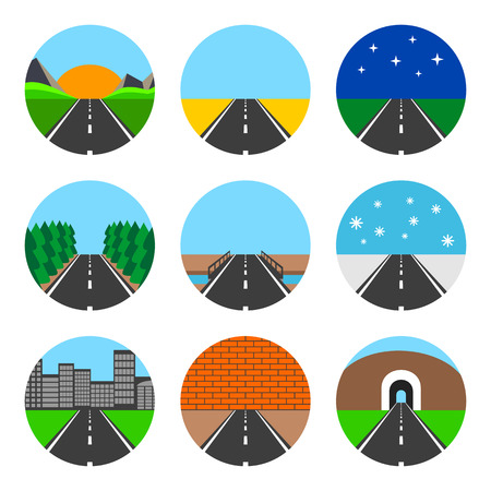driveway: Icons of road landscapes. Set on a white background.