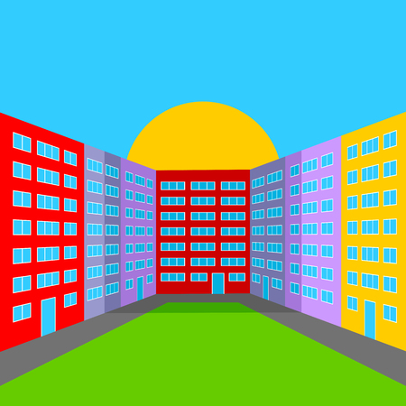 City Yard in the Morning. Abstract Multicolored City Landscape. Illustration