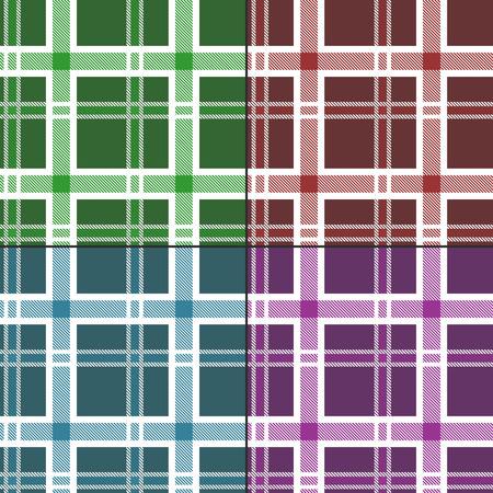 scot: Seamless Pattern Similar to the Scottish Tartan. Four Textures in a Set. Illustration