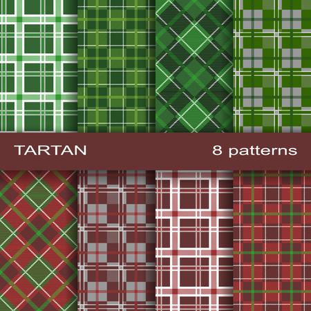Pattern Similar to the Scottish Tartan. Eight Textures in a Set. Illustration
