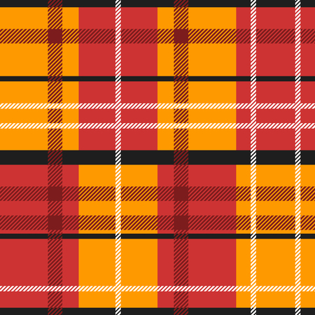 scot: Seamless Pattern Similar to the Scottish Tartan. Executed in Red and Orange Colors.
