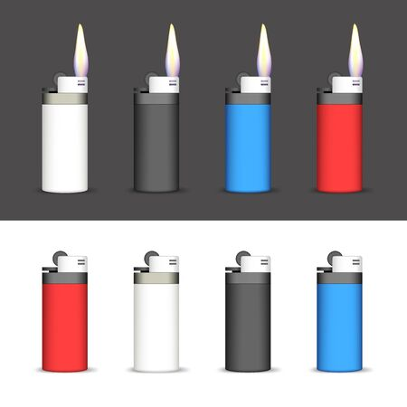 lighted: Set of Lighters on a Black and White Background. Lighters Lighted and not Lighted.