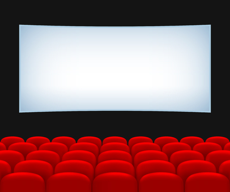 Movie Theater Hall. Rows of Red Seats and a Screen.
