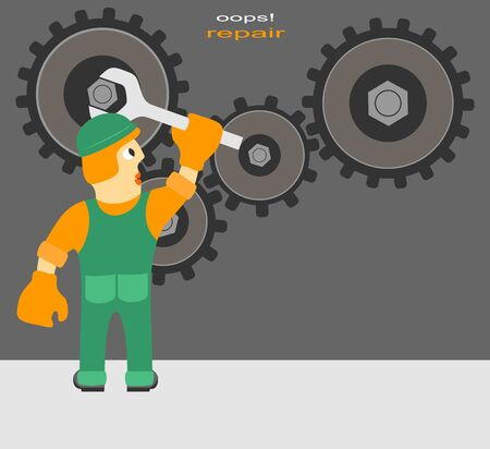 breakage: Funny Cartoon Composition on Repairs. Worker Repairs the Mechanism. Illustration