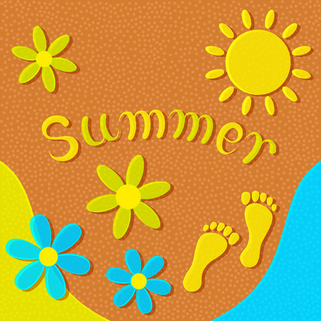footprints in sand: Sandy beach, sun, flowers and footprints on the sand form an abstract summer background.