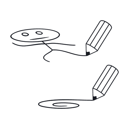 funny guys: Pencil draws a funny little man and a line. Set on a white background.