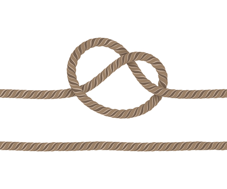 Rope is Knotted and a Straight Rope. Objects on a White Background. Ropes are Joined to Each Other. Illustration