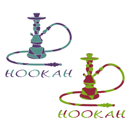 Abstract Hookah is Divided into Color Figures. Set of Two Hookahs on a White Background. Illustration