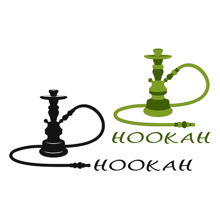 Set of Two Hookahs on a White Background. Black and Green Hookahs.