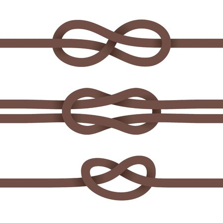 Brown Ribbons are Knotted. Set on a White Background. EPS-10. Transparency was Used. Illustration